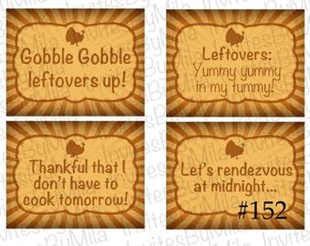 Thanksgiving Leftover Labels #152, Turkey, Gobble, Brown, Vintage, Printable, Label, Gift Tag- Digital/ You Print