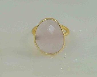 Pink Chalcedony 22k Gold Plated 925 Sterling Silver Adjustable Ring.