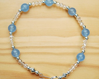 Blue Chalcedony & Crystal Silver Plated Anklet