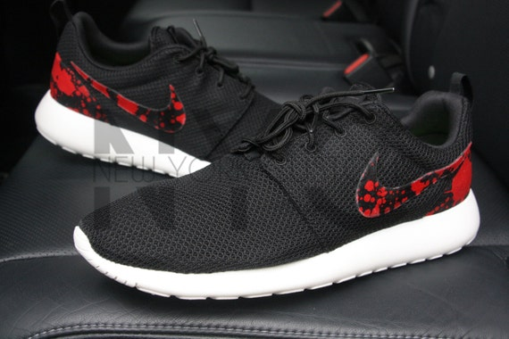 a269ac21543e Blood Splatter Nike Roshe Run Black Custom Men   by NYCustoms 50%OFF ...