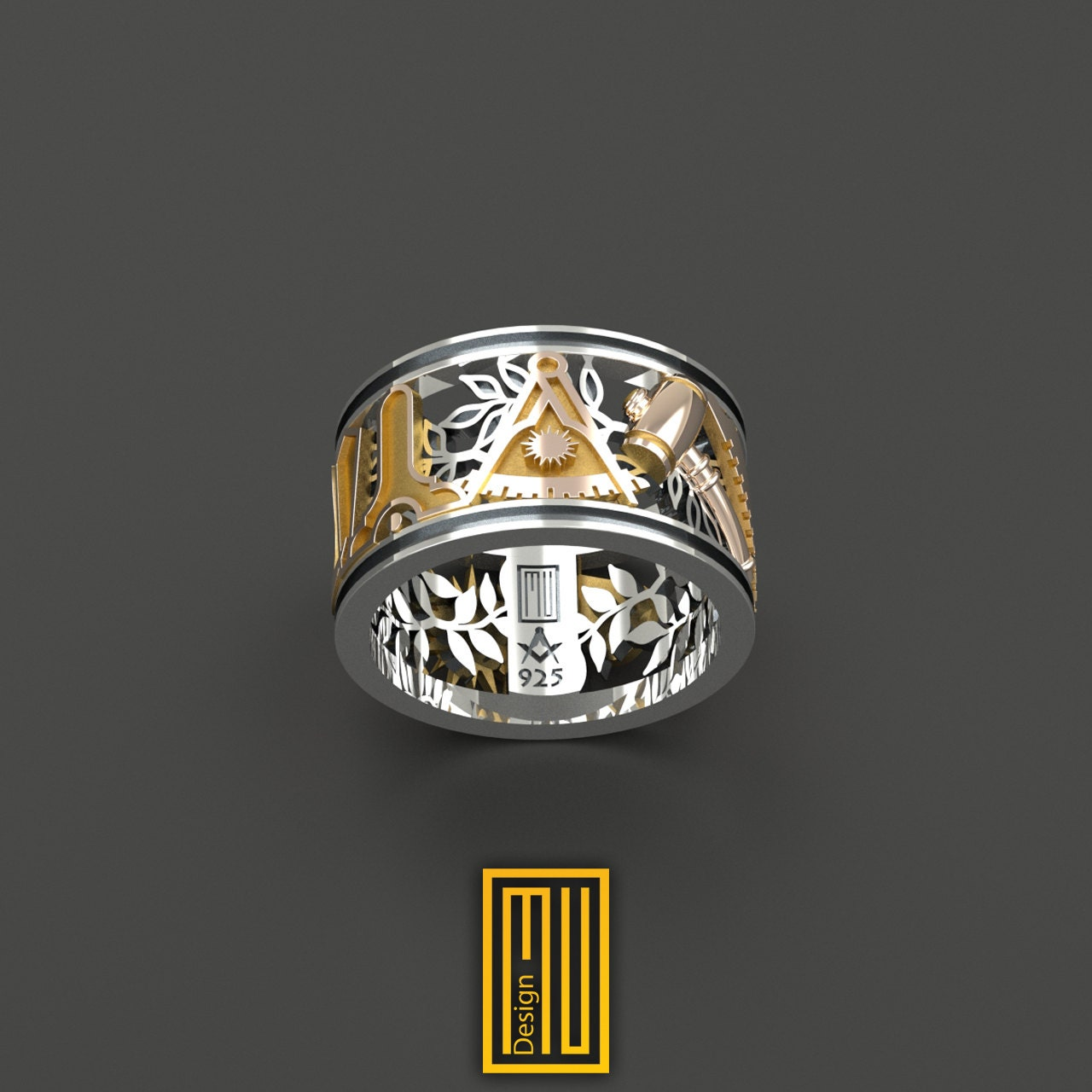 Masonic Wedding Style Past Master Ring Unique Design For Men