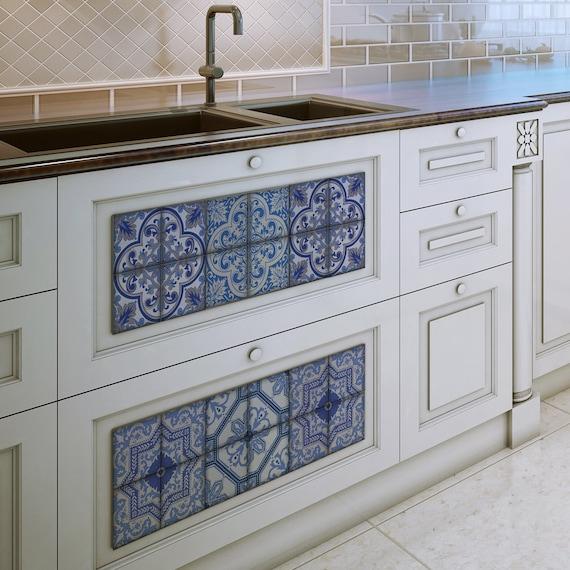 Bleucoin Tile Decal Backsplash: Moroccan Bule Tiles Stickers Ameur Pack Of 16 Tiles Tile