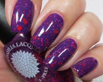 Bright Plum Crelly with Matte Glitter Nail Polish by Black Dahlia Lacquer - Purple China Aster