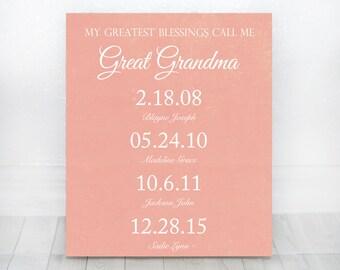 My Greatest Blessings Call Me Great Grandma - Great Grandma Gift Nana Gift Grandparents Gift Great Grandma Sign Grandchildren Dates Sign