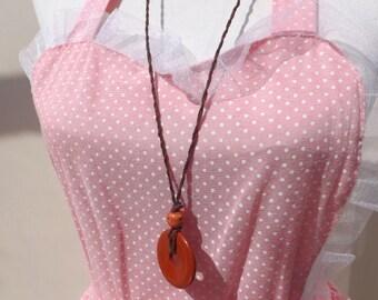 Jasper necklace, red jasper pendant, summer necklace, donut pendant, donut and hemp necklace, knotted necklace