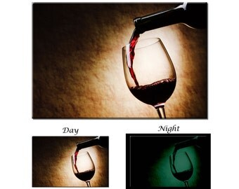Glow in the Dark Canvas Wall Art - Red Wine Glass Canvas Art Print - Ready to Hang