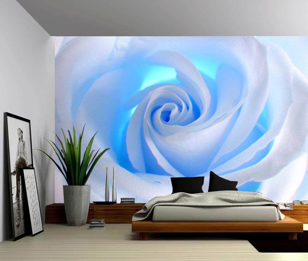 Blue rose large wall mural self adhesive vinyl wallpaper for Adhesive decoration