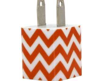 Orange Chevron Cell Phone Charger for iPhone, Android, Samsung