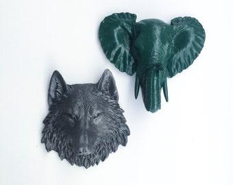 ANY SET of 2 Faux Taxidermy Choose COLOR // Wolf // Elephant // Fake Animal Head // Safari Nursery // Zoo // Jungle // Unique Gift // Trophy