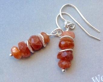 Stacked Sunstone Earrings, sterling silver earrings, ear wires, lever backs, stack earrings, red gemstone, natural gemstone