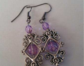 Rustic purple earrings