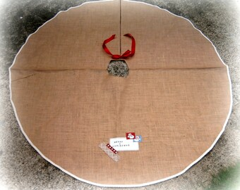 Hessian Burlap Jute Christmas Tree Skirt Personalized Rustic Holiday