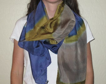 "Silk Scarf, 22""x72"", Abstract Collection-Blue/Olive Green/Grey"