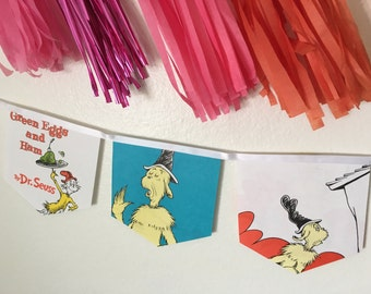 Green Eggs and Ham banner upcycled book #1