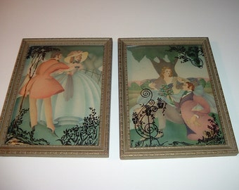 Pair Vintage Courting Couple with Silhouette Prints