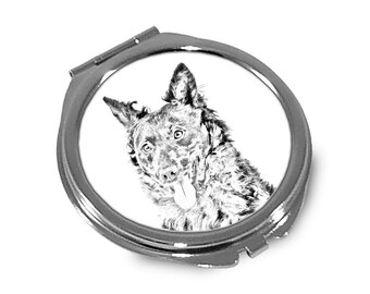 Mudi- Pocket mirror with the image of a dog.