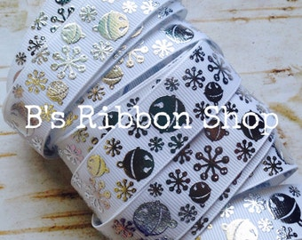 """7/8"""" Silver Foil Bells and Snowflakes on White USDR grosgrain ribbon"""