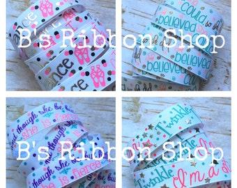 """7/8"""" What Mom Says USDR 1 yard grosgrain ribbon foil glitter"""