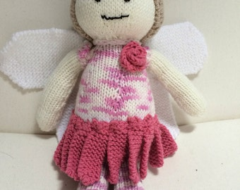 Reduced! ** Hand knitted flower fairy doll dark Pink flower fairy Rose fairy doll Wings handmade knitted doll
