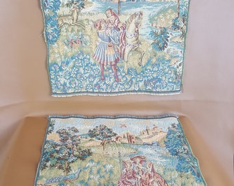 Set of 4 Italian tapestries in 2 designs 19 inch square