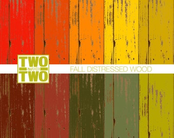 """Fall Wood Digital Paper: """"DISTRESSED or WEATHERED WOOD"""" in Autumn Shades of Yellow, Orange, Green, Red, and Brown"""