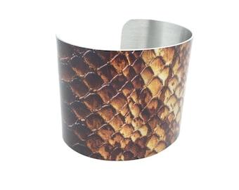 Snake Jewelry - 1980s Style - Gift for Her - Snakeskin Cuff - Statement Jewelry - Snake Bracelet - Girlfriend Gift - Snakeskin Bracelet