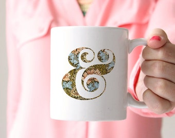 ampersand mug letter mug custom drinkware decorative mugs housewarming gift floral mug william morris tea mug