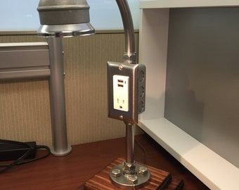 Stainless Steel Industrial Desk Lamp With Cell Phone Holder