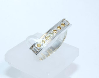 Ring Silver 925 natural CHRYSOLITE and CITRINE