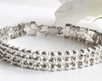 Sterling Silver Bracelet,Sterling Silver Chain Link Bracelet,Silver Chain Link Bracelet,Sterling Silver Vintage Bracelet,  Vintage Jewelry,