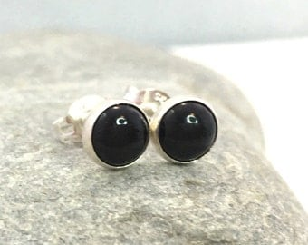 Black Onyx Stud Earrings ..  6MM Round Onyx Studs .. Sterling Silver and Black Onyx Earrings