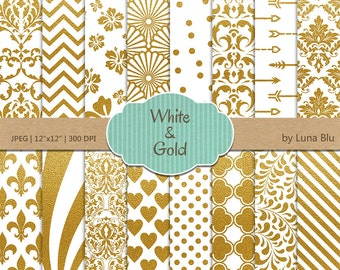 "White and Gold Digital Paper: ""White and Gold Foil Patterns"" White digital paper, White and gold scrapbook paper, gold digital paper"