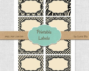 Printable Labels: Black and Cream digital labels, printable frames, gift cards, buffet labels, storage labels, party labels, table numbers