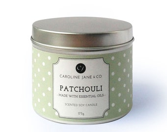 PATCHOULI - Vegan, Soy Wax Candle, Crackling wooden wick, Large Tin, Essential Oil