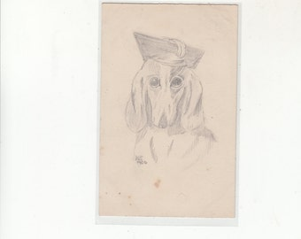 Exquisite Hand Drawn Female Dachshund With Stylish Hat,Antique Postcard,Undivided Back C 1913