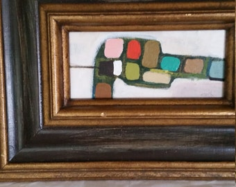 Mid century modern style original painting with vintage frame