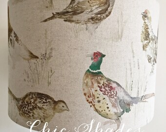 Country Pheasant Game Birds Linen Fabric Lampshade