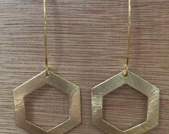 Gold Hexagon Drop Earrings