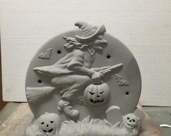 Ceramic Bisque Halloween Witch Pumpkin Scene Ready to Paint