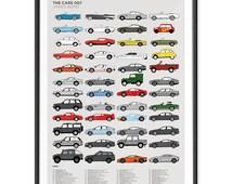 Cars of 007 James Bond Poster