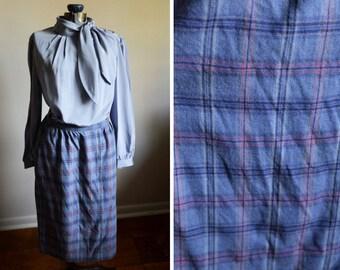 Medium - 1970's Blue Plaid Skirt