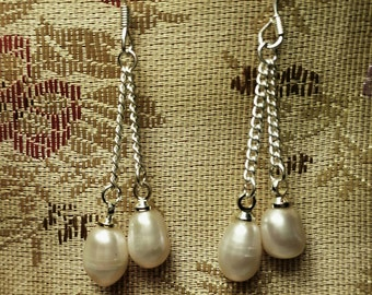 Fresh Water Cultured Pearl Sterling Silver Earrings Fashion Accessory