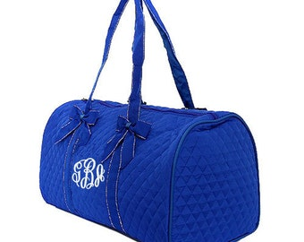 "Personalized Quilted Duffel with Detachable Bows - Large 21"" Royal Blue Duffle with White Trim - QS703-ROWH"