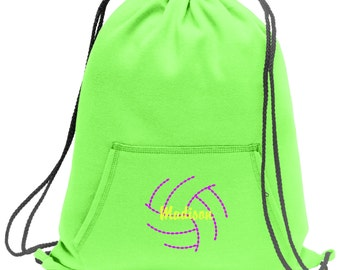 Sweatshirt material cinch bag with front pocket and embroidered spirit design - Volleyball2 - Multiple Colors - Camouflage - BG614
