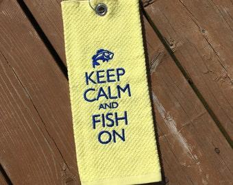 Personalized golf towel ( Handmade 100% cotton Fishing Towel )
