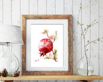 Pomegranate Print, Watercolor Painting Art Print, Pomegranate Painting, Wall Art Home Decor