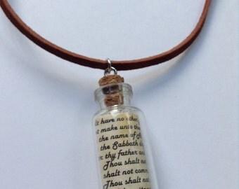 18mm x 40mm (Dime Size Vial) 10 Commandments Necklace