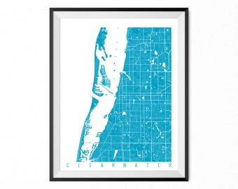 Clearwater Map Art Print / Clearwater City Poster / Clearwater Wall Art / Florida/ Gift / Florida home decor