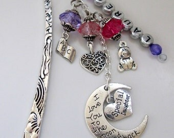 Personalized Large Bookmark -Daughter/Mother/Sister/Aunt -Love you to the moon & back