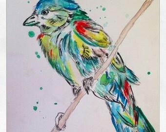 Original Watercolor Blue Bird Painting